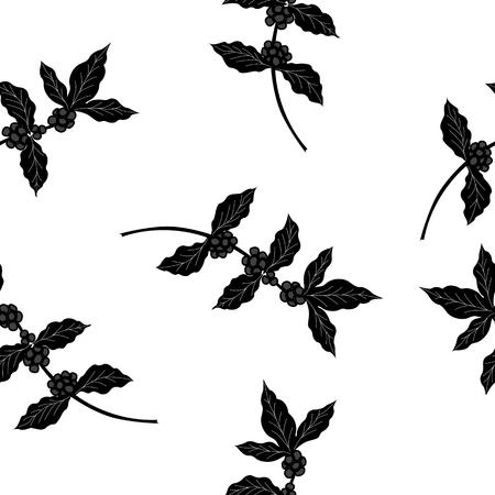 blackwhite: Berries, leaves, shoots of coffee - black-white seamless pattern, line art.