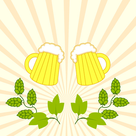 tankard: two fresh beers with foam hat with branches of hops in the background of diverging rays