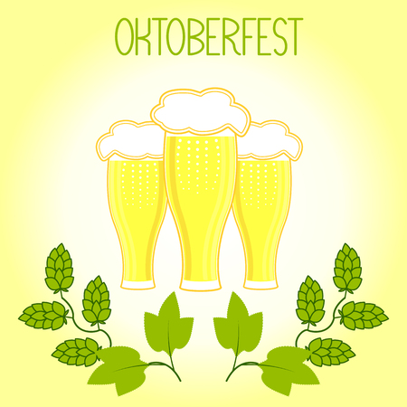 Three glasses of beer and hops branch, Oktoberfest. On a light yellow background Illustration