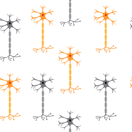 nerve cells neurons, isolated on white background, seamless pattern