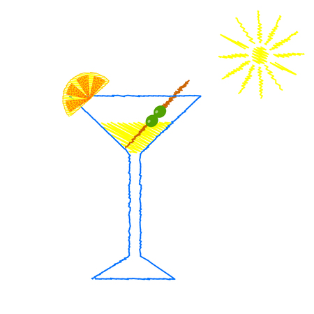 lemon slice: Hand painted banner of glass. Summer cocktail decorated the lemon slice. Hand drawn vintage poster. Illustration