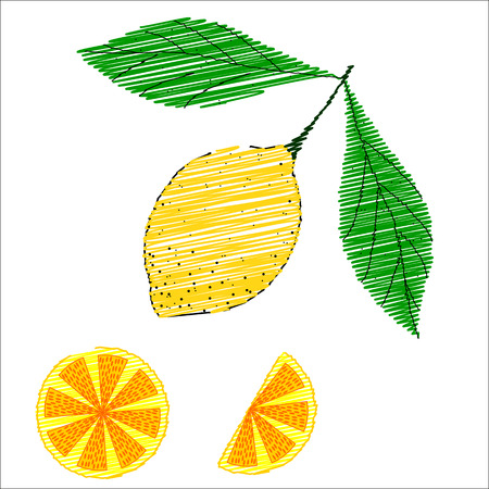 Hand drawn sketch style set of lemon fruit with leafs and sliced lemon in color. isolated on white background