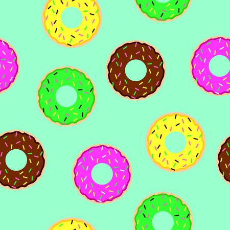 sprinkling: donuts seamless pattern on blue background in a modern flat style. Donuts into the glaze collection.