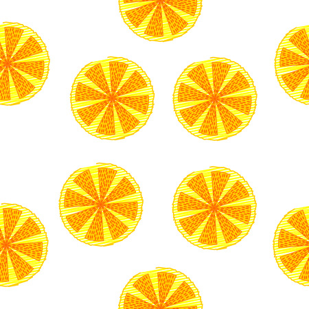 lemon slices: seamless pattern of lemon slices in sketch style on a white background