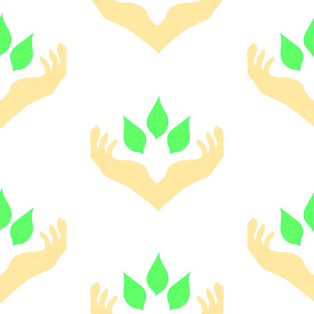 oncept: two hands surrounding green leaves, seamless pattern. Сoncept of wellness, protecting nature, also represents concepts like environment protection, spa resorts.