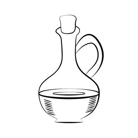 コルクと液体のガラスを水差し。オリーブ オイル。手描きのデザイン要素。ヴィンテージ黒の図。白い背景上に分離。