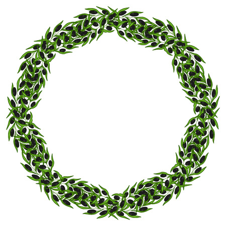 olive wreath: Olive wreath and branch hand drawn sketch illustration. Leave and berry round frame isolated on white background.