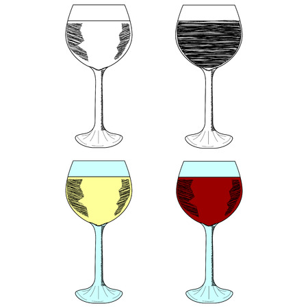 wineglasses: Sketch set of wineglasses. Red wine, white wine. Isolated on white background. Hand drawn vector illustration.
