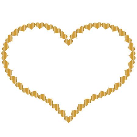 frame in de vorm van hart van kleine gouden harten, geïsoleerd op een witte achtergrond