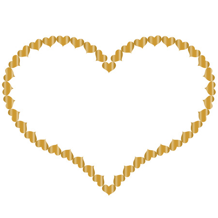 frame in the shape of heart of small gold hearts, isolated on white background