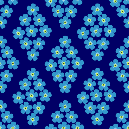 calico: seamless pattern with forget-me-in the form of rhombus on dark blue background Illustration