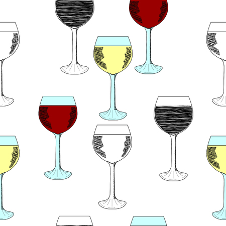 wineglasses: Sketch set of wineglasses. Red wine, white wine. Isolated on white background. Hand drawn illustration, seamless pattern