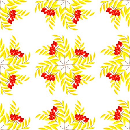 seamless pattern of branches with berries of mountain ash and autumn leaves. Autumn beautiful background