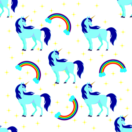Seamless background of animal illustration with cute blue unicorn with stars, rainbow. Childrens background, can be used as wallpaper or wrapping paper. Illustration
