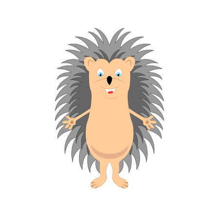 Funny hedgehog sketch drawing, isolated on white background, in color. Illustration