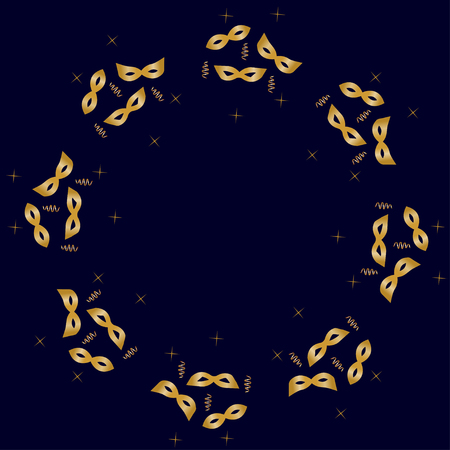 purim carnival party: round frame with golden masks, streamers and stars. festive background