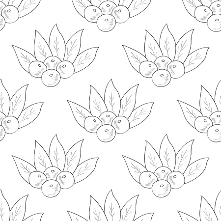Acai berry branch, leaves superfood hand drawn sketch illustration. Seamless pattern.