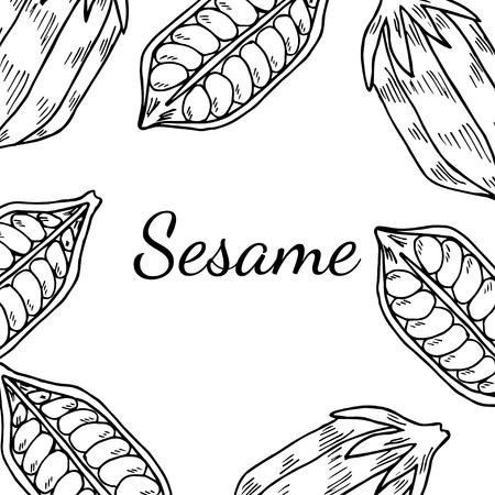 Sesamsamen, natürliche Bio-Butter Zutat. Behandlung, Pflege, Lebensmittelzutat. Tinte handgezeichnete Skizze Abbildung. Quadratische Banner, Karte, Vorlage.