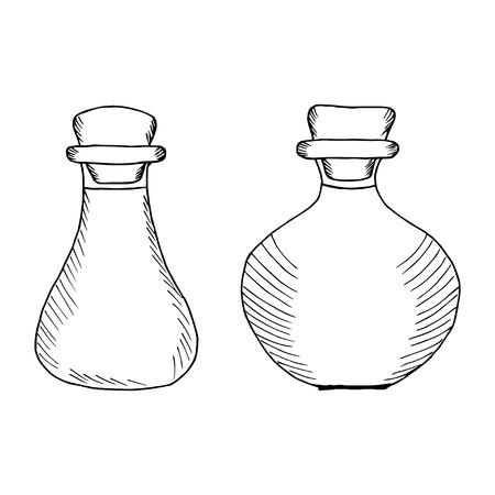 Flasks (bottles, containers, jugs) for essential or edible oils. Hand drawn ink design element. Vintage black illustration. Isolated on white background.