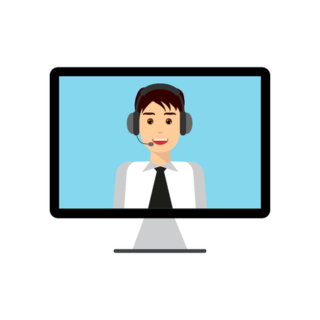 switchboard operator: Man with headset on computer monitor screen. Technical support, call center, online customer live support, webinar, conference, training and education concept. Flat design graphic elements. Illustration