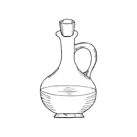 vasi greci: Jug glass of liquid with cork stopper. Olive oil. Hand drawn ink design element. Vintage black illustration. Isolated on white background.