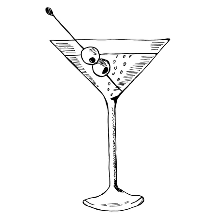 Martini with olive in glass hand drawn ink sketch, isolated. Alcoholic cocktails sketch elements illustration. Illustration