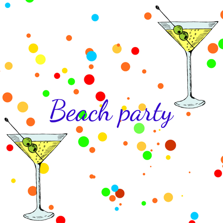 Summer beach party banner with  martini cocktail. Cocktails menu card design template. Menu blank with space for text  for restaurant, cafe and bar vector design.