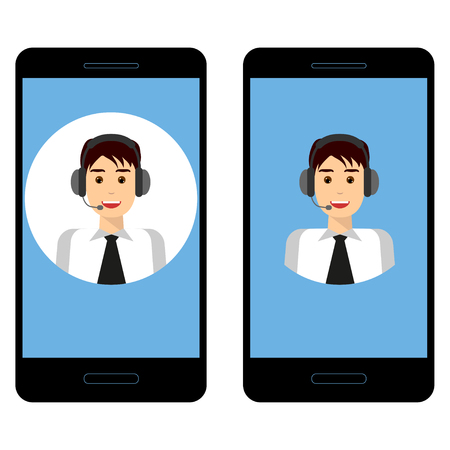 Customer service concept.Technical support call center concept. Smartphone with male operator on the screen. Man wearing headset. Set.