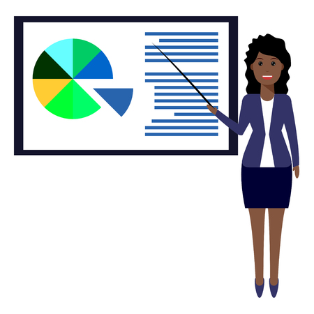 associates: Cute woman character present about business lecture. Training staff, business presentation, meeting, financial report, business school. Flat illustration.