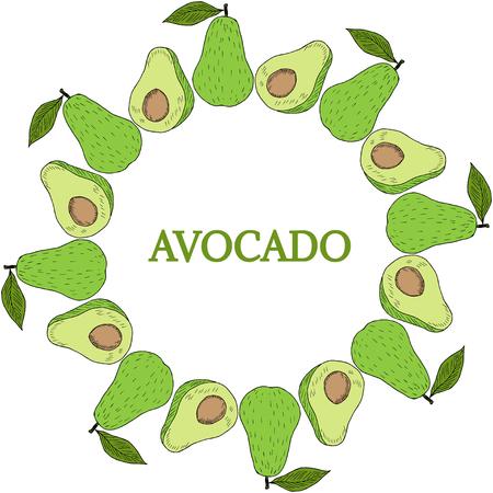 top menu: Fruits top view frame with avocado. Farmers market menu design. Healthy food poster, banner. Vintage hand drawn sketch illustration. Linear graphic, line art. Illustration