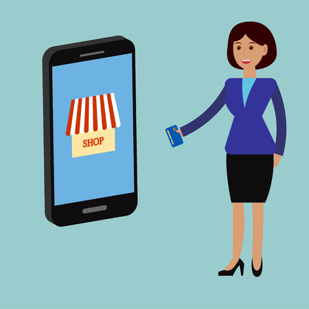 smartphone business: Mobile store concept. Business woman work with online payment, shopping with smartphone. Online marketting flat design.