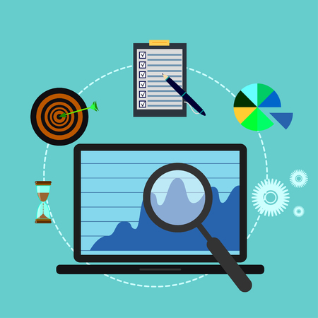 Business analysis or review flat illustration with laptop and abstract infographic elements with magnifier, target, hourglass and checklist on blue background Illustration