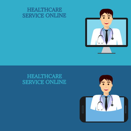 consult: Horizontal medical banners. Medical advice online. Telemedicine. Doctor on computer screen and smartphone. Template with space for text.