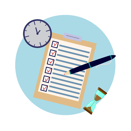 School examen testresultaten. Onderwijs platte pictogrammenset voor flyer, poster, website zoals test, pen, klok en zandloper.