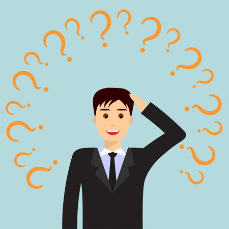 Thinking and smiling businessman, surrounded by question marks. Businessman thinking about business idea. Business idea concept. Flat design illustration, isolated.