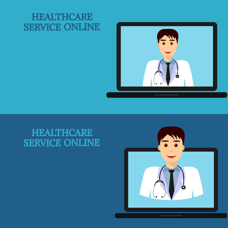 Horizontal Medical Banners Advice Online Telemedicine Doctor On Laptop Screen Template