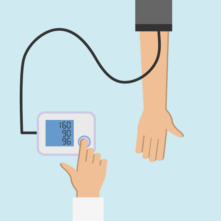 Patient checking arterial blood pressure. High blood pressure concept illustration. Measuring, monitoring health. Diagnose hypertension, heart. Digital device tonometer. Medical equipment.