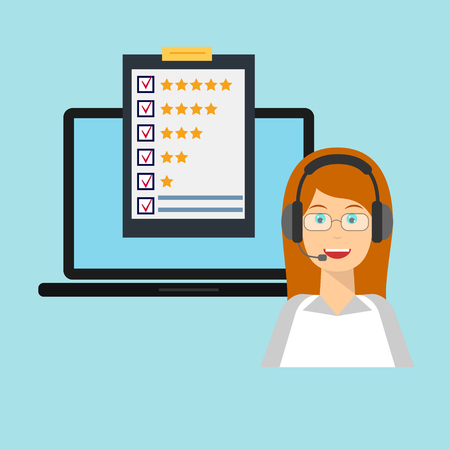 inquiry: Customer service rating flat illustration. Call centre. Job recruitment, business, career choices, evaluation, review, customer feedback, service survey form. Design, template for web banners, apps.