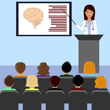 여성 의사가 의료 강의 또는 프레젠테이션을 제공합니다. 의료 및 의료 디자인 개념입니다. 일러스트