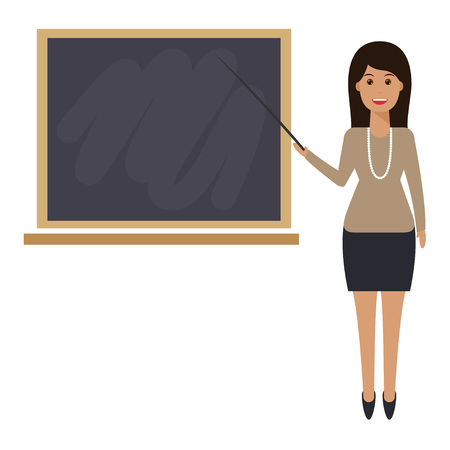 Teacher with pointer, showing on board. Young female teacher, professor standing in front of blackboard teaching student in classroom at school, college or university. 向量圖像