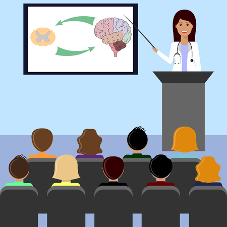 assisting: Female doctor giving medical lecture or presentation. Healthcare and medical design concept.