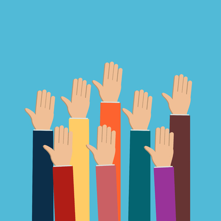 charity collection: People vote hands. Raised hands volunteering concept. Flat design modern illustration. Election voting vector background.