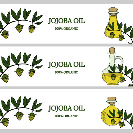 tree isolated: 3 horizontal banners, jojoba oil in color