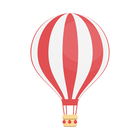 Hot air balloon, isolated on white. Flat design illustration. Vacation and travel concept.
