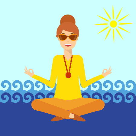 Young woman sits against the sea in yoga lotus pose and meditates. The concept of vacation and travel. Flat design illustration.