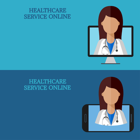 consult: Horizontal medical banners, telemedicine 1-2, icon