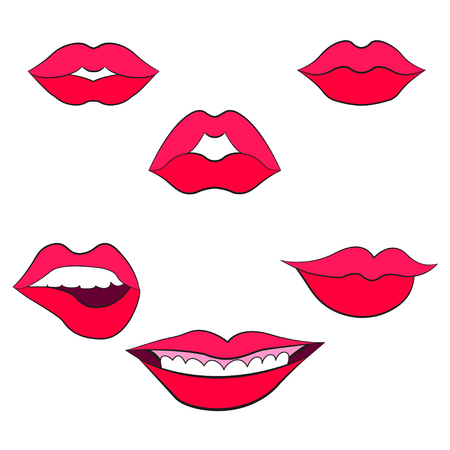Womans lip gestures set 2 Illustration