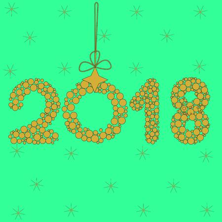 2018 on green background, zero Illustration