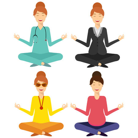 Smiling business, doctor, pregnant, young woman, sitting and mindful meditating in lotus asana in zen peace, mental calmness. Set. Search for solution, brainstorming. Isolated. Flat style illustration