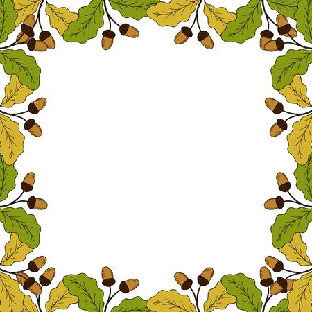 Oak leaf and acorn branch. Autumn frame. Hand drawn ink botanical illustration. Vintage fall seasonal border in sketch style. Template, mock up for label, sign, icon, banner, seasonal decor, sticker Иллюстрация